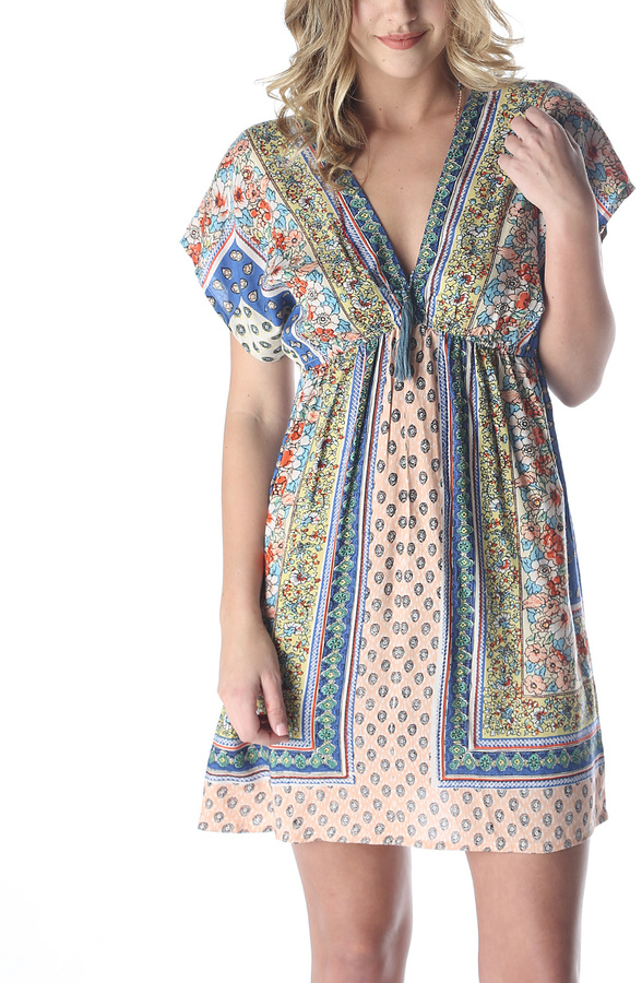 Yellow & Blue V-Neck Empire-Waist Dress