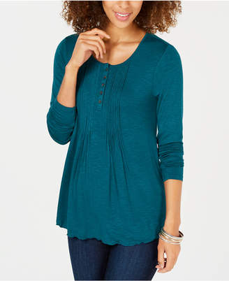 Style&Co. Style & Co Long-Sleeve Pintuck Top, Created for Macy's