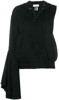 Facetasm asymmetric zipped hoodie
