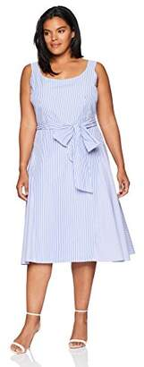 Julian Taylor Women's Plus Size Stripe Fit and Flare Dress
