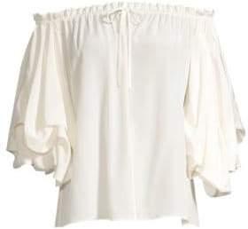 Diane von Furstenberg Georganne Off-The-Shoulder Ruffle Sleeve Blouse
