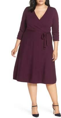 Eliza J Midi Faux Wrap Dress