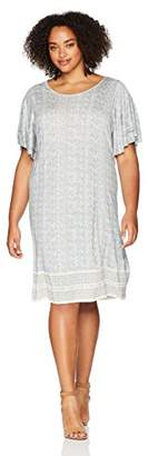 Lucky Brand Women's Size Plus Printed Ruffle Dress in Blue Multi