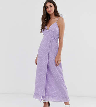 Fashion Union Tall cami midi dress with tie waist in spot