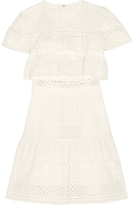 Self-Portrait Ruffled Broderie Anglaise Mini Dress - White
