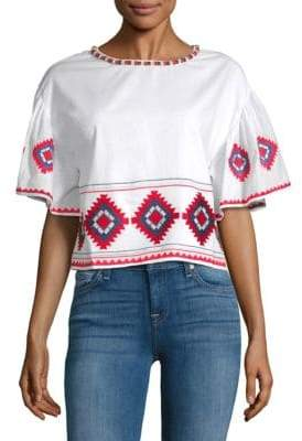 Tularosa Sienna Embroidered Ruffle-Sleeve Tee
