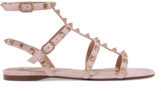 Valentino Garavani The Rockstud Suede Sandals - Antique rose