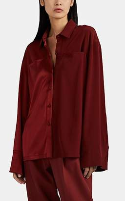 Co Women's Mixed-Media Button-Front Blouse - Wine