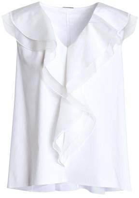 Elie Tahari Embellished Ruffled Cotton-Blend Poplin And Organza Top