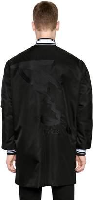 Kenzo Maxi Logo Print Nylon Long Bomber Jacket