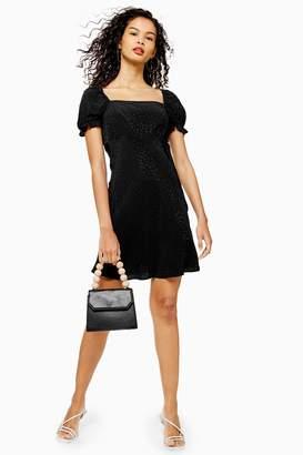 Topshop Womens Black Jacquard Mini Square Neck Tea Dress - Black