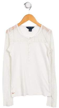 Ralph Lauren Lace-Accented Long Sleeve Top