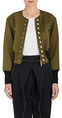 3.1 Phillip Lim Women's Pearl-Embellished Tech-Satin Bomber Jacket - Moss