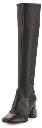 Tory Burch Tory Burch Sidney Leather 70mm Knee Boot, Black