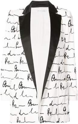 Oscar de la Renta shawl collar printed blazer