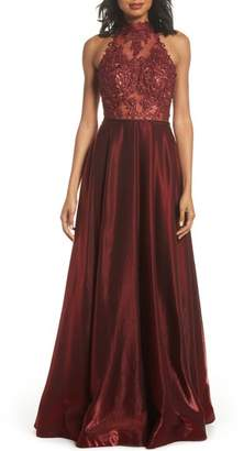 La Femme Embroidered Lace & Satin A-Line Ballgown