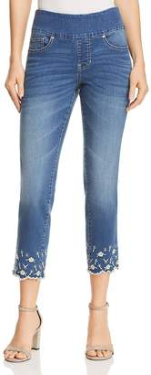 Jag Jeans Lewis Straight Floral Embroidered Ankle Jeans in Skydive