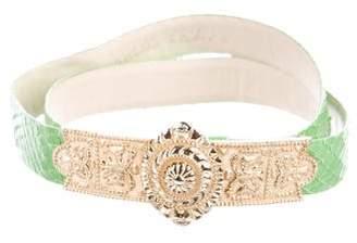 Judith Leiber Embellished Leather Waist Belt