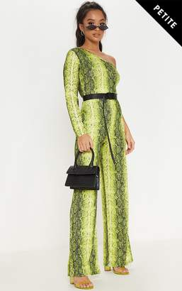 f43b2d6680 at PrettyLittleThing · PrettyLittleThing Petite Neon Green Snake Print One  Shoulder Jumpsuit