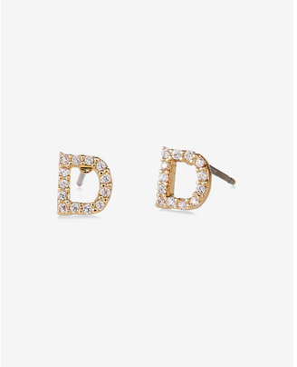 Express Pave D Initial Stud Earrings $14.90 thestylecure.com