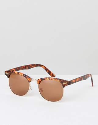 Asos DESIGN retro sunglasses in tort