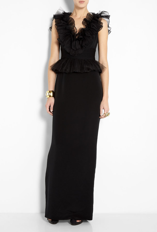Notte by Marchesa V Neck Ruffle Column Gown