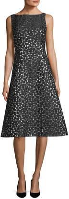 Lela Rose Sleeveless Boat-Neck Dress
