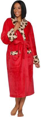 Dennis Basso Plush Robe with Leopard Faux Fur Trim and Gift Box