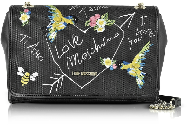 Love MoschinoLove Moschino Black Canvas and Eco Leather Shoulder Bag w/Embroidery I Love You