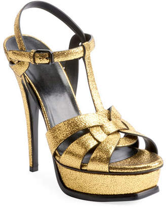 3e3d52488bb Saint Laurent Tribute Metallic Leather Platform Sandals