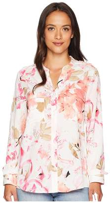 Calvin Klein Printed Roll Sleeve Blouse Women's Blouse