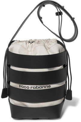 Paco Rabanne Cage Hobo Medium Leather And Canvas Bucket Bag - Black
