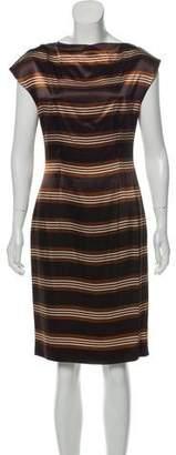 Prada Cowl Neck Stripe Dress