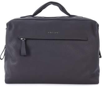 Orciani Tumbled Leather Charcoal Handbag.