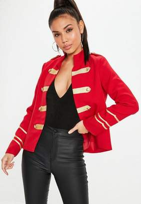 Missguided Red Military Gold Button Detail Jacket