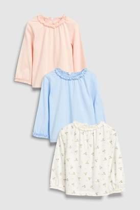 Next Girls Pink/Blue/Ditsy Print Long Sleeve Tops Three Pack (3mths-6yrs)