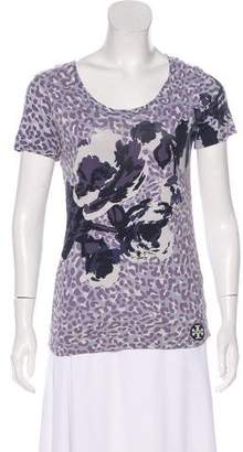 Tory Burch Animal Print Short Sleeve Top
