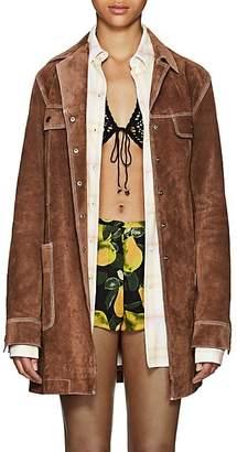 Marc Jacobs Women's Topstitched Suede Coat - Beige, Tan