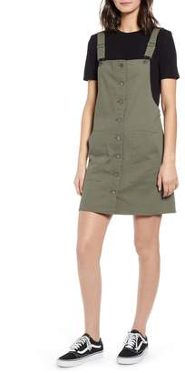 Love, Fire Button Front Twill Pinafore Dress