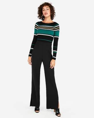 Express Striped Ribbed Bateau Neck Sweater