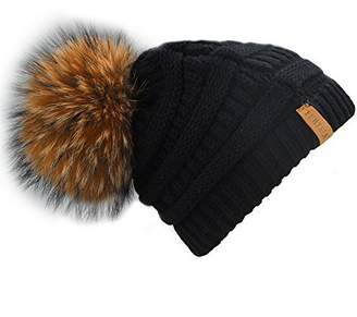 e200426e569 FURTALK Women s Thick Slouchy Real Fox Raccoon Fur Pom Pom Winter Knit  Beanie Bobble Hat Caps
