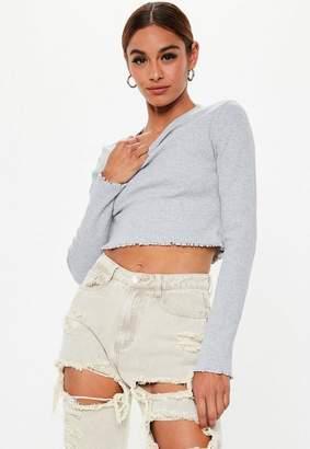 Missguided Grey Rib Long Sleeve Crop Top