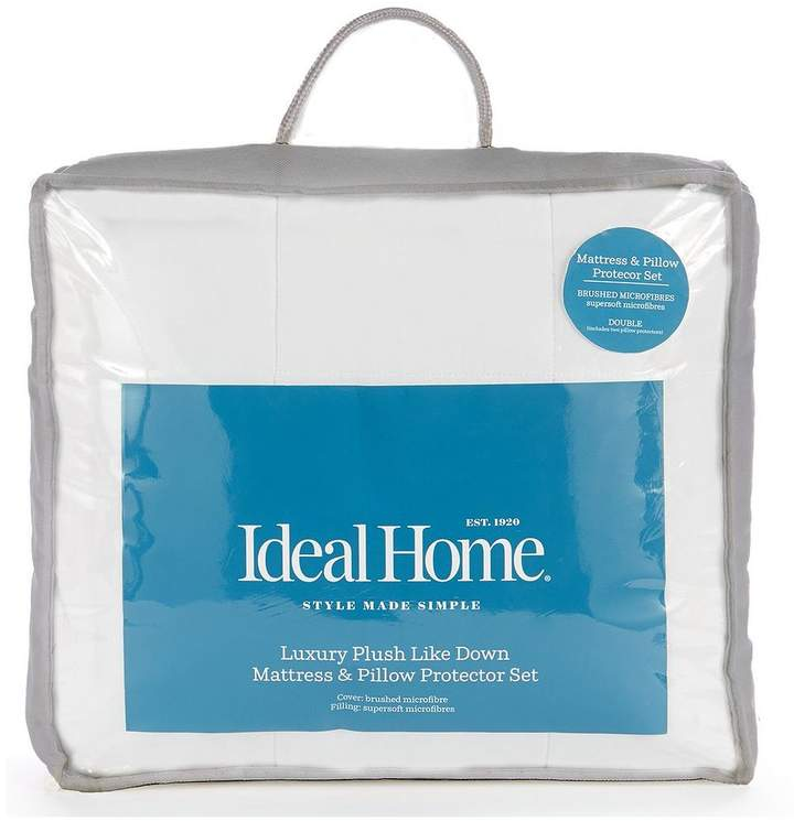 Ideal Home Luxury Like Down Mattress And Pillow Protector Set Sb