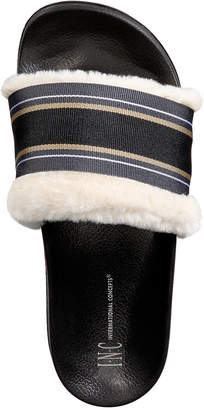 INC International Concepts I.n.c. Faux-Fur Varsity Slide Slippers