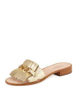kate spade new york Brie Metallic Chain Flat Sandal, Gold $168 thestylecure.com