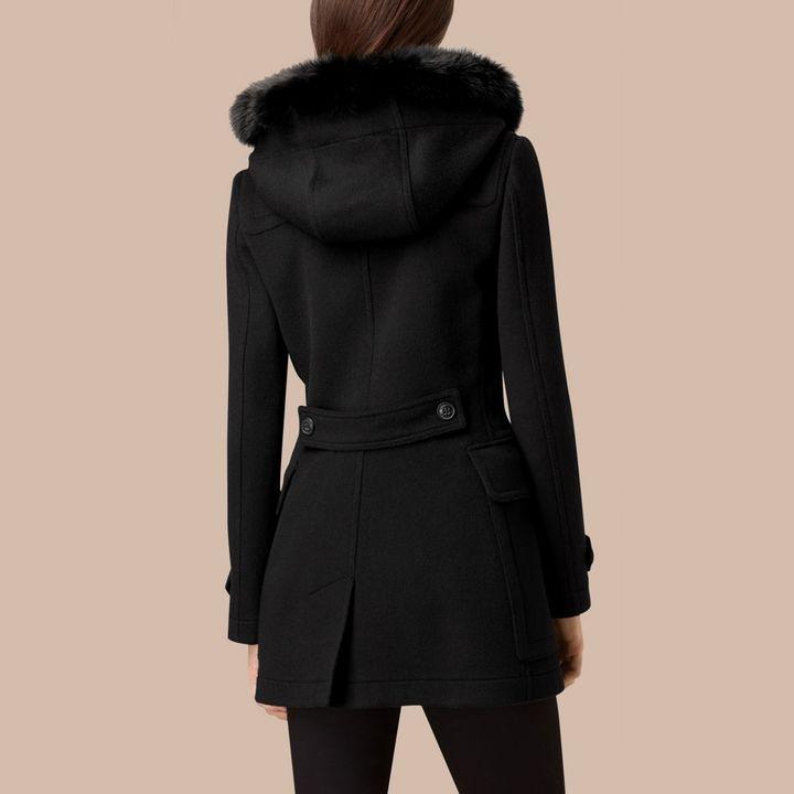 Burberry Detachable Fur Trim Wool Duffle Coat , Size: 12, Black