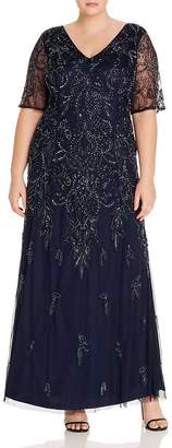 Adrianna Papell Plus Beaded Short-Sleeve Gown