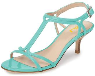 FSJ Women Casual T-Strap Sandals Open Toe Kitten Stacked Heel Strappy Rhinestones Shoes Size 8.5