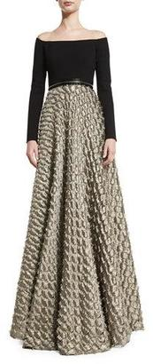 Carmen Marc Valvo Off-the-Shoulder Jersey & Satin Jacquard Gown, Black/Gold $1,496 thestylecure.com