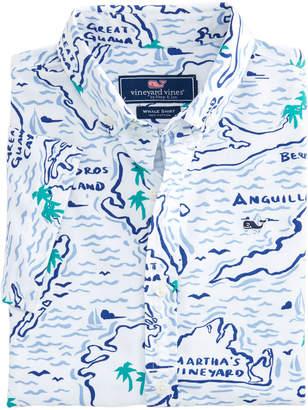 Vineyard Vines Boys Short-Sleeve Map Of The Island Oxford Whale Shirt